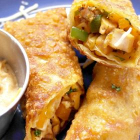 YUM!!! Southwestern Egg Rolls Recipe with Spicy Ranch Dipping Sauce.