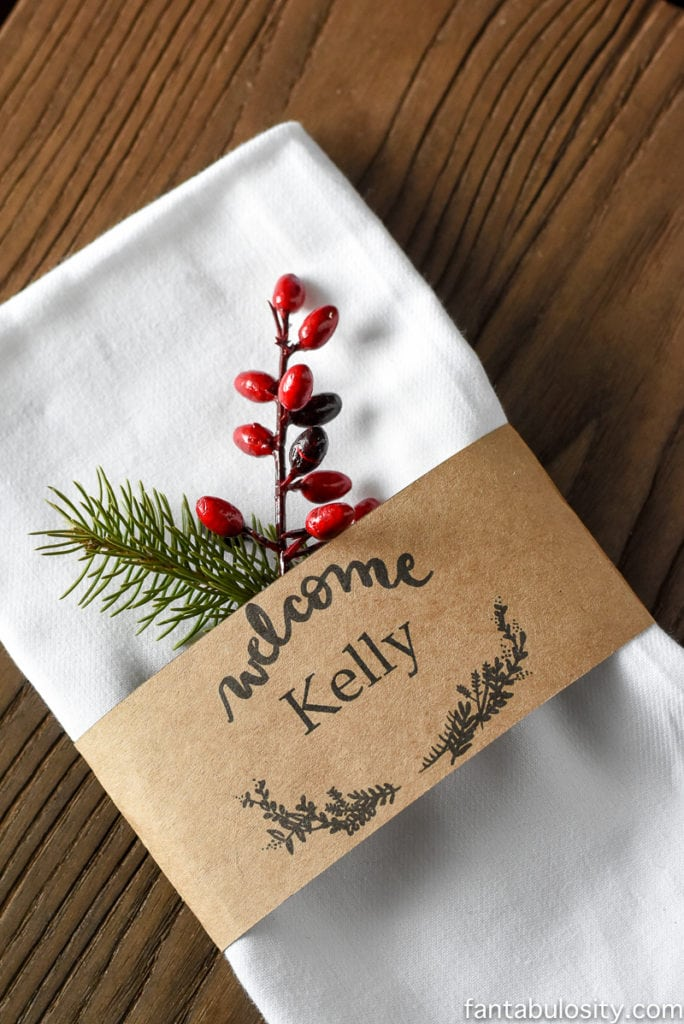 Holiday welcome place cards
