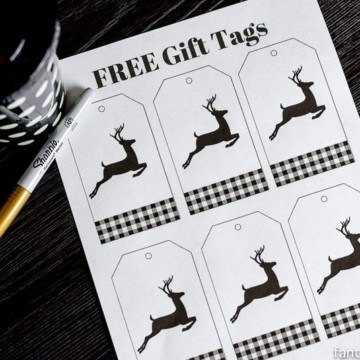 Free Buffalo Plaid Gift Tags download! Black and White, deer, modern, classy Christmas, Winter gift tags.