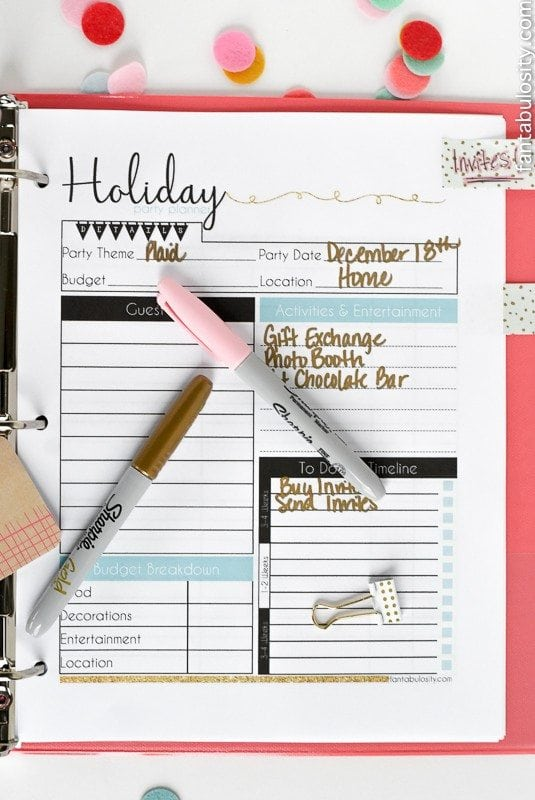 Holiday Party Planner Download. Checklists, menu planner, guest list tracker...