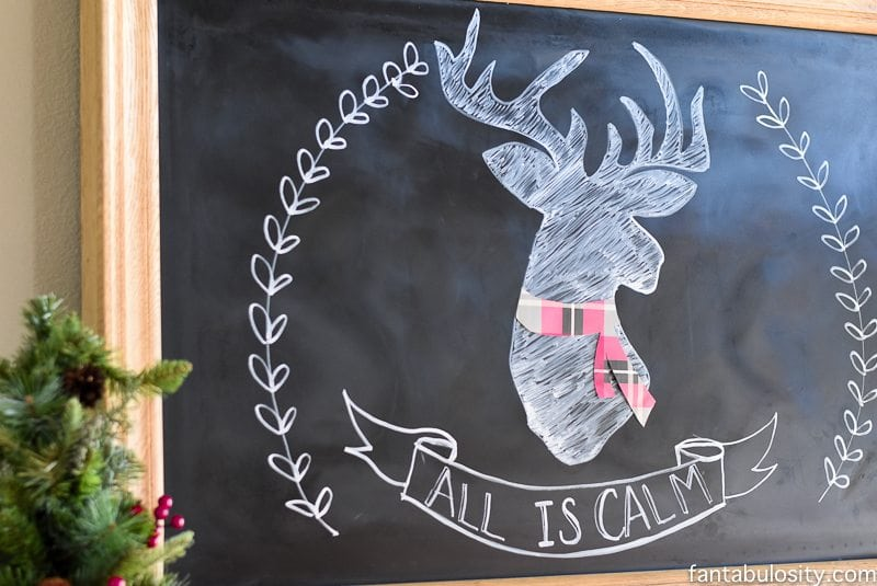 Christmas Chalkboard Art Idea - Deer All Is Calm, Holiday