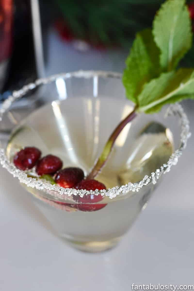 Fancy-Schmancy Holiday Mocktail idea! Sparkling water, sugared cranberries & mint. So cute!