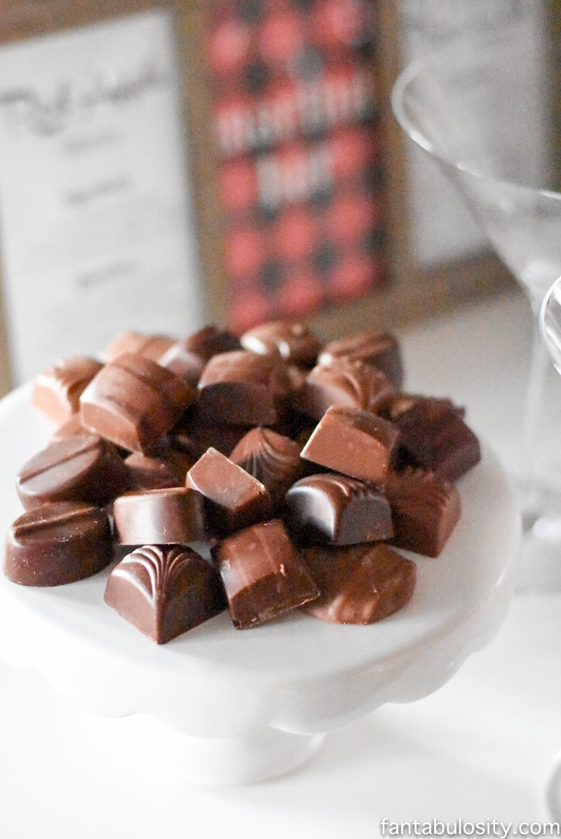 Martini Bar ideas! Chocolates to go with the sweet martinis. Love! fantabulosity.com