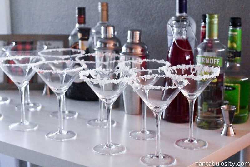 Martini Bar Ideas fantabulosity.com Red apple martini and White Chocolate Peppermint Martini