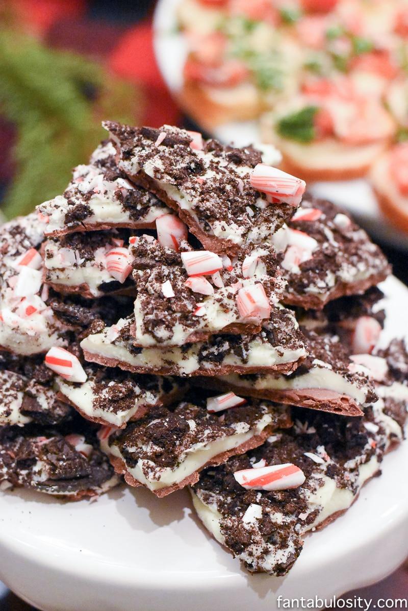 Chocolate Peppermint Bark Favorite Things Party Ideas - How to Host Favorite Things Party fantabulosity.com