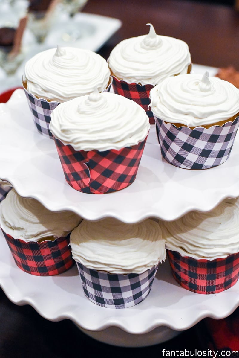 Cupcakes with plaid liners or wrappers! Favorite Things Party Ideas - How to Host Favorite Things Party fantabulosity.com
