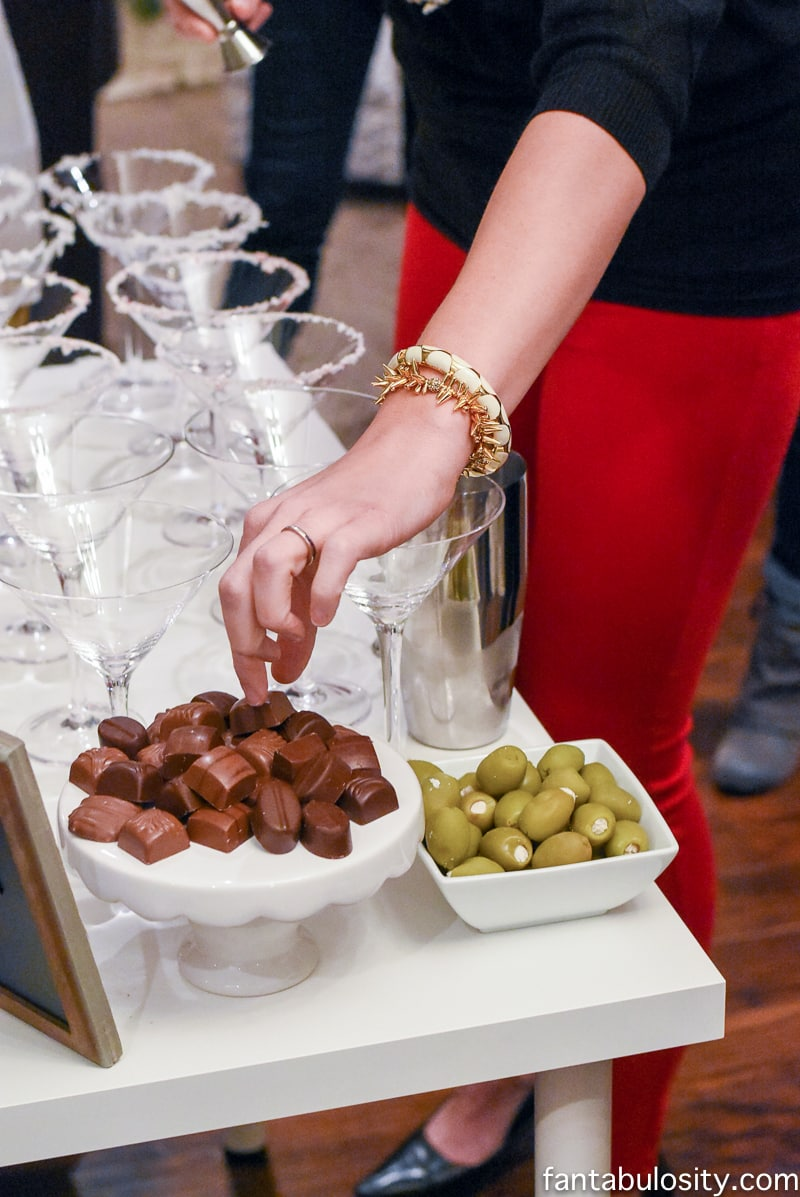 Martini Bar ideas! Chocolates to go with the sweet martinis, and blue cheese stuffed olives for the others. Love! fantabulosity.com