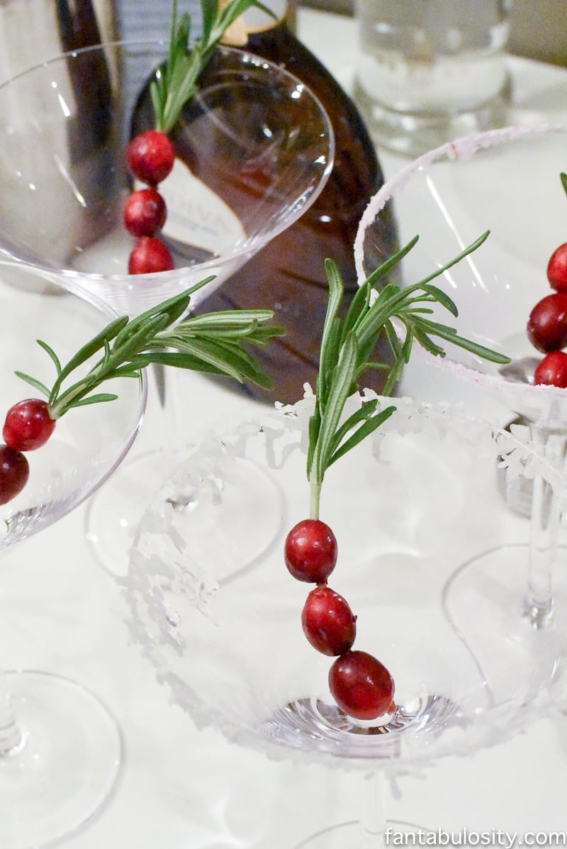 Martini Bar ideas, cranberries on rosemary sprigs. Love! fantabulosity.com