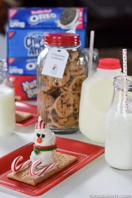 Milk and Cookies Party Play Date Ideas. Snowman Nutter Butter Truffle