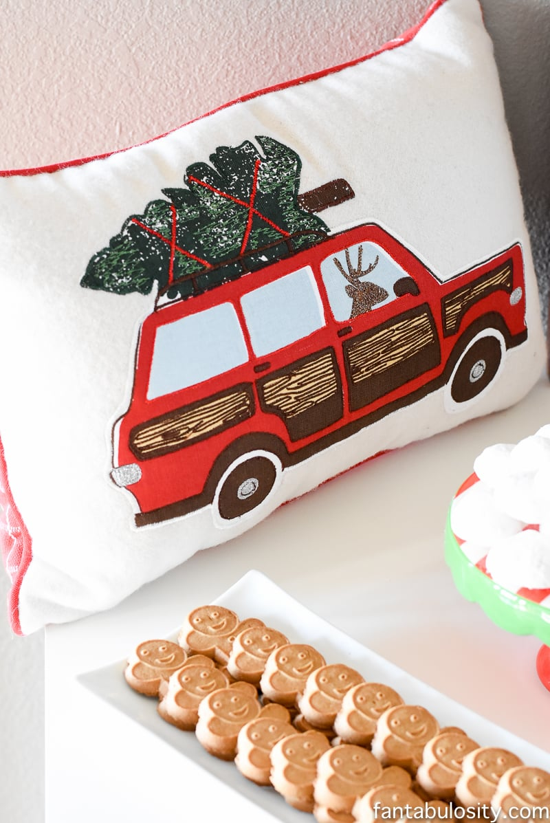 This PILLOW!!! LOVE! Vintage Christmas Party Ideas: Truck with Christmas Tree, cupcakes, red green and white, hot chocolate bar