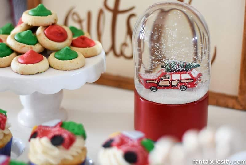 Ahh! Such an adorable theme! Vintage Christmas Party Ideas: Truck with Christmas Tree, cupcakes, red green and white, hot chocolate bar