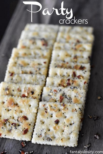 """YUM!!! She calls these """"Party Crackers,"""" because they are a perfect snack for a party, or a party in your mouth! Ha! Garlic pepper, ranch seasoning, red pepper flakes, OMG!"""