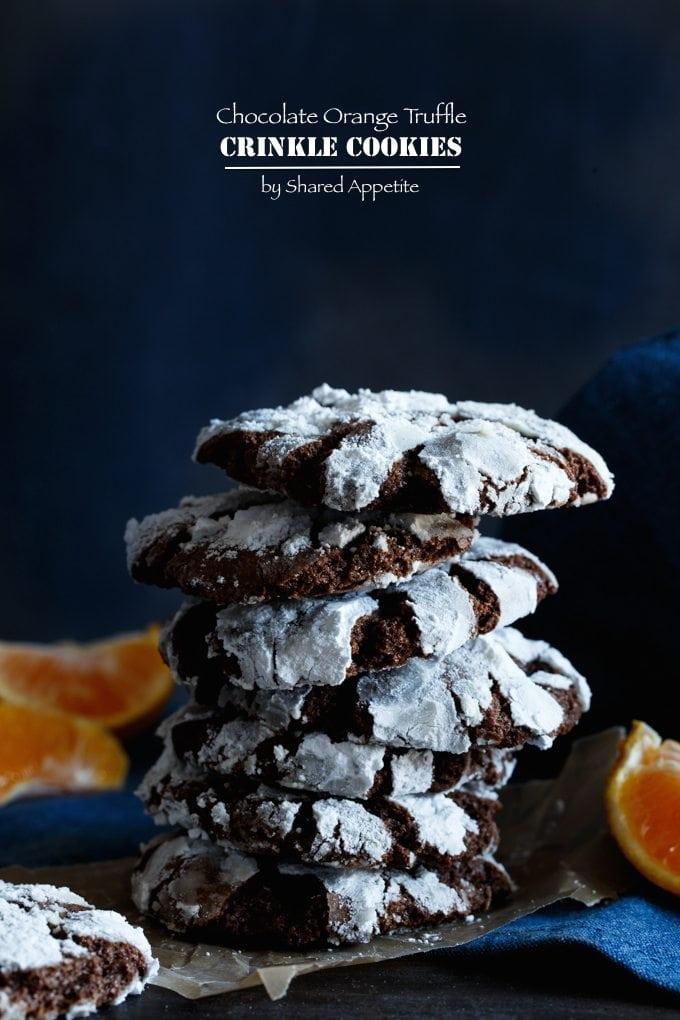 chocolate orange truffle crinkle cookies