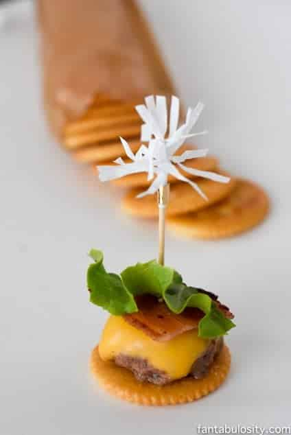 Mini Open faced bacon cheeseburger sliders on a Ritz crackers, appetizers! So cute & easy! Football Party Ideas fantabulosity.com