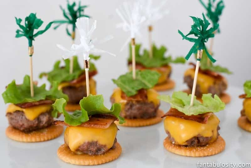 Open faced cheeseburger on Ritz crackers, appetizers! So cute & easy! Football Party Ideas fantabulosity.com