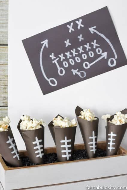 Football paper snack cones for a football party! So cute and easy!!! fantabulosity.com