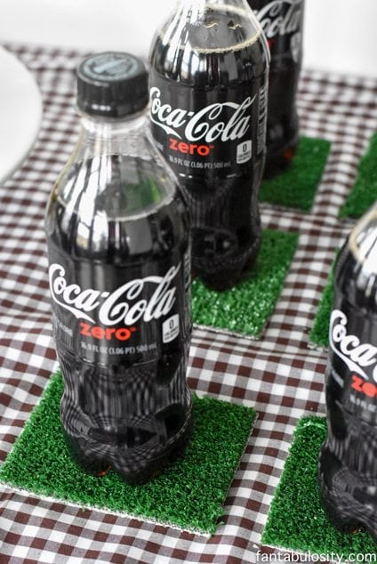 "Bottled Soda for party drinks, on ""football turf,"" coasters. LOVE!Football Party Ideas fantabulosity.com"