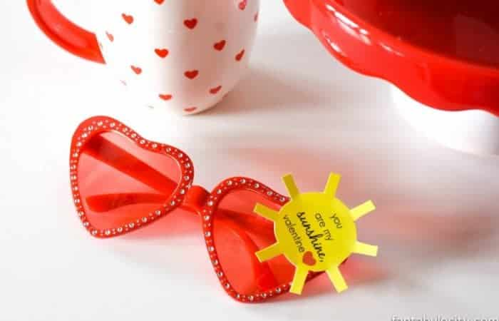 """CLASSROOM VALENTINES WITH FREE PRINTABLE! """"You are my Sunshine Valentine"""" Heart Sunglasses, Valentines for Classroom or classmates for preschool; non-candy, healthy idea https://fantabulosity.com"""