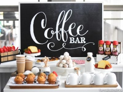 "I can SO do this!!! Coffee Bar Party: ""You've Warmed My Heart,"" theme! LOVE what she did as a random act of kindness with her guests! DIY Coffee bar ideas galore, and SO easy! fantabulosity.com"