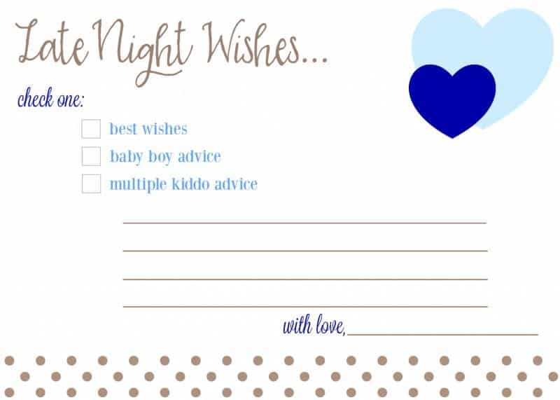 Late Night Wishes Baby Advice Cards for Baby Shower Free Download Printable Boy, Girl fantabulosity.com