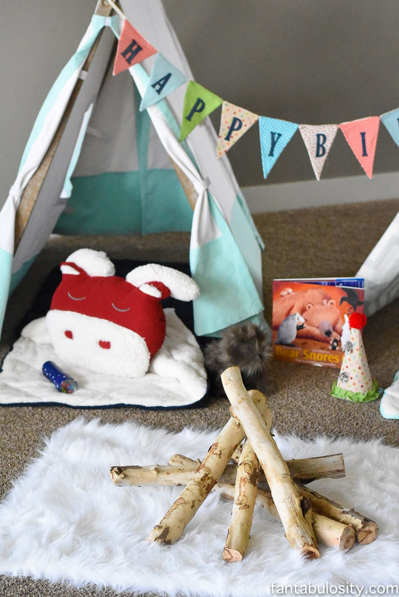 A Camp-In Sleepover! A Camping Sleepover Birthday Party! How fun is this! It's all so cute!!! Camping Sleepover Birthday Party Ideas! Pottery Barn Kids, fake fire, tents, sleeping bags, fire birthday cake, kaleidoscope, birthday banner.