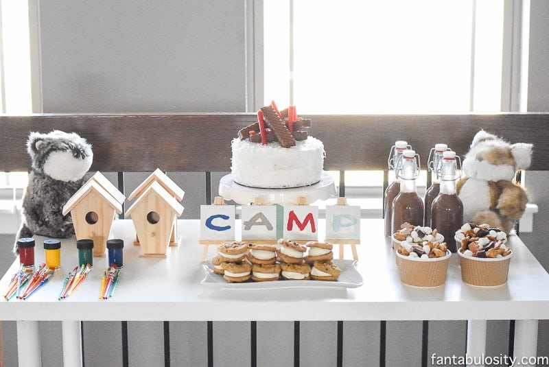 Camp-In Sleepover! How fun is this! It's all so cute!!! Camping Sleepover Birthday Party Ideas! Pottery Barn Kids, fake fire, tents, sleeping bags, fire birthday cake, kaleidoscope, birthday banner.