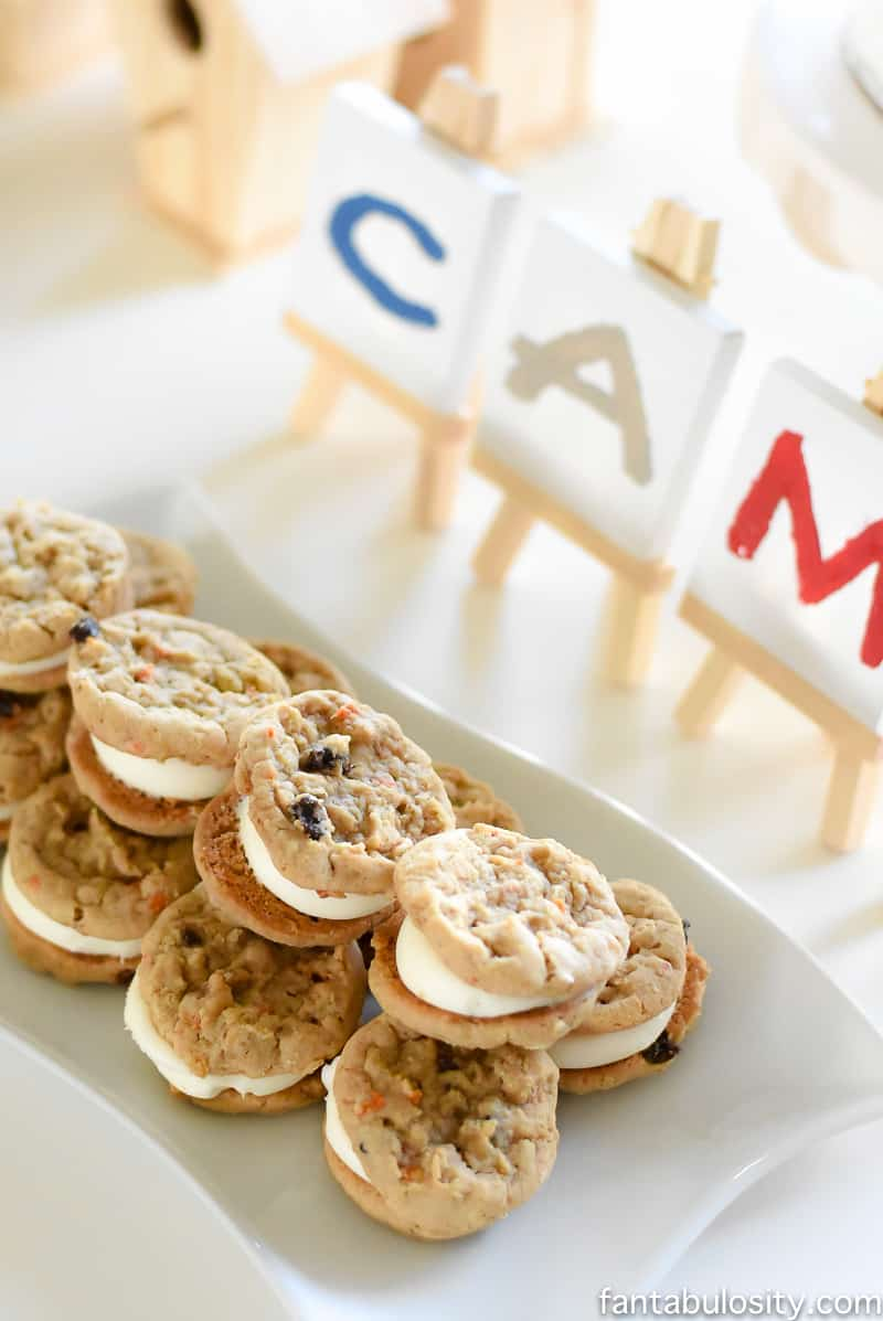 A Camp-In Sleepover! Cookie Sandwiches for a camping party! How fun is this! It's all so cute!!! Camping Sleepover Birthday Party Ideas! Pottery Barn Kids, fake fire, tents, sleeping bags, fire birthday cake, kaleidoscope, birthday banner.