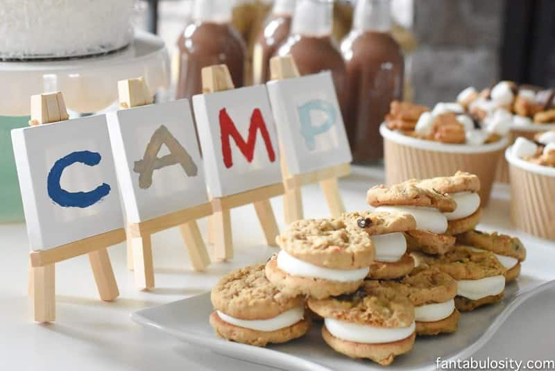 A Camp-In Sleepover! How fun is this! It's all so cute!!! Camping Sleepover Birthday Party Ideas! Pottery Barn Kids, fake fire, tents, sleeping bags, fire birthday cake, kaleidoscope, birthday banner.