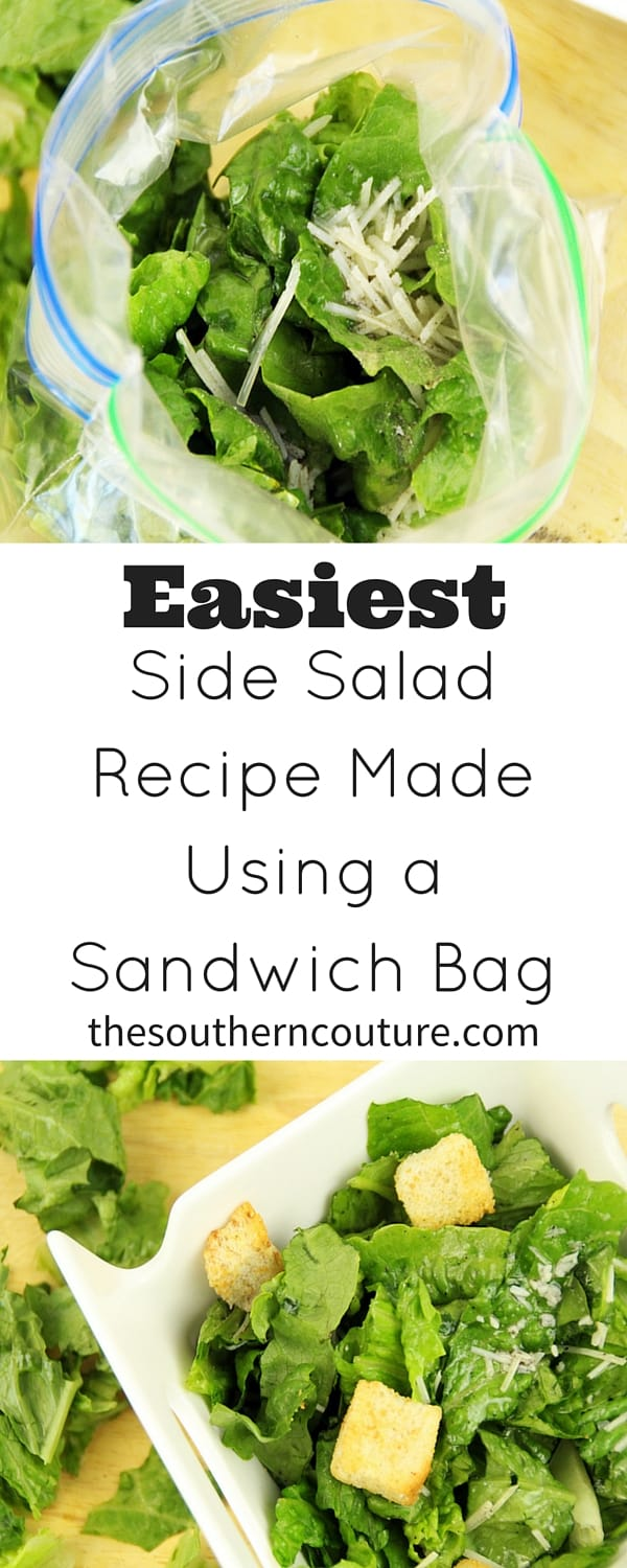 The fact that this side salad can be made in a SANDWICH BAG of all things makes me so happy! NO MESS clean up. The sandwich bag also makes it taste even more delicious. Come find out how that is even possible. Plus if you are on the go, you can still enjoy a healthier choice.