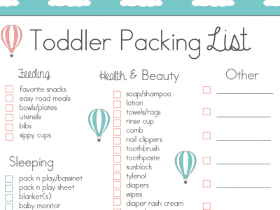 Toddler Packing Checklist Free Printable for when we travel! fantabulosity.com