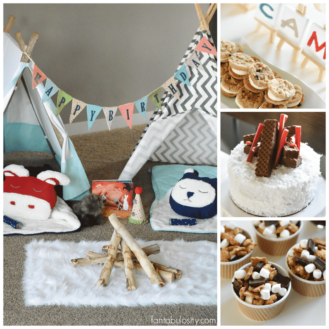 Camping Birthday Party Ideas for indoors, camping party! Living room campout for kids.