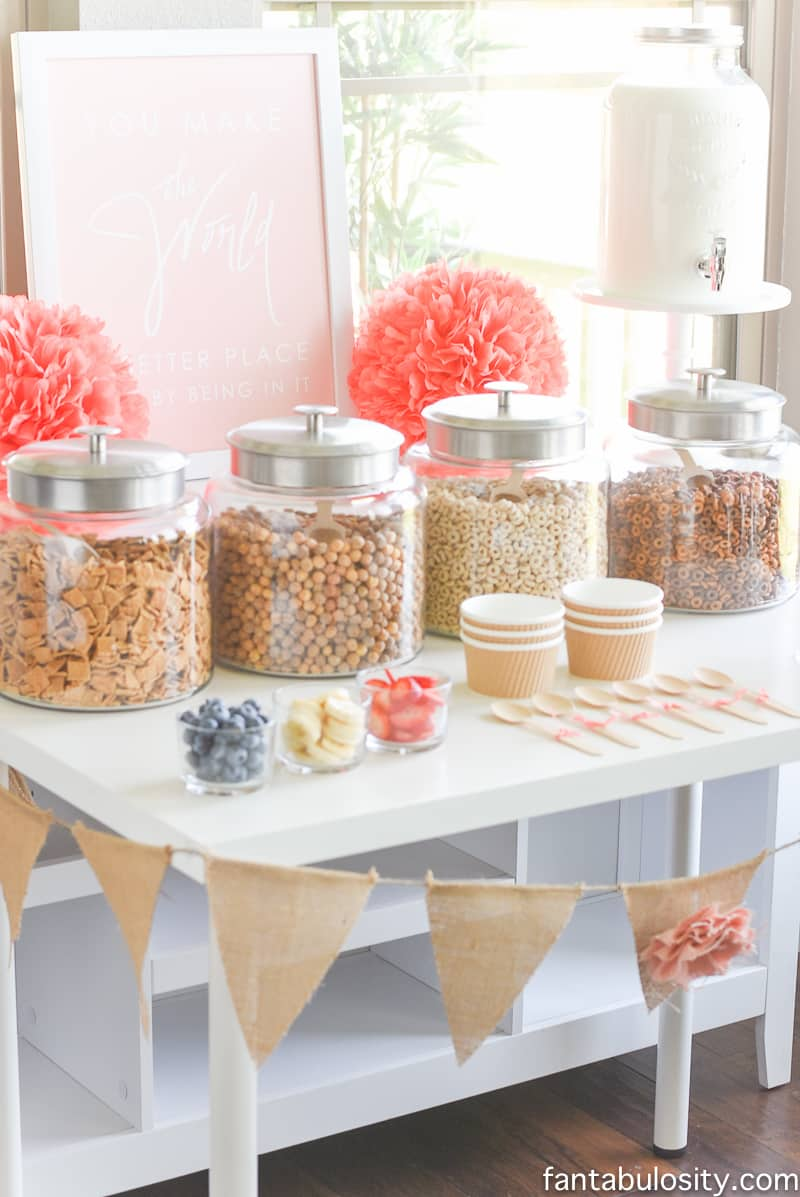 Cereal Bar Ideas: Brunch shower, bridal shower, mother's day, baby shower breakfast party