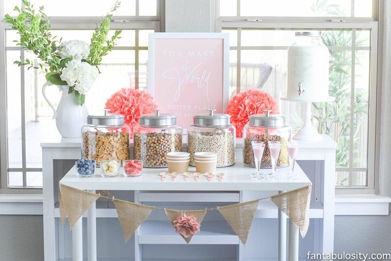 Cereal Bar Ideas: Brunch shower, bridal shower, mother's day, baby shower breakfast