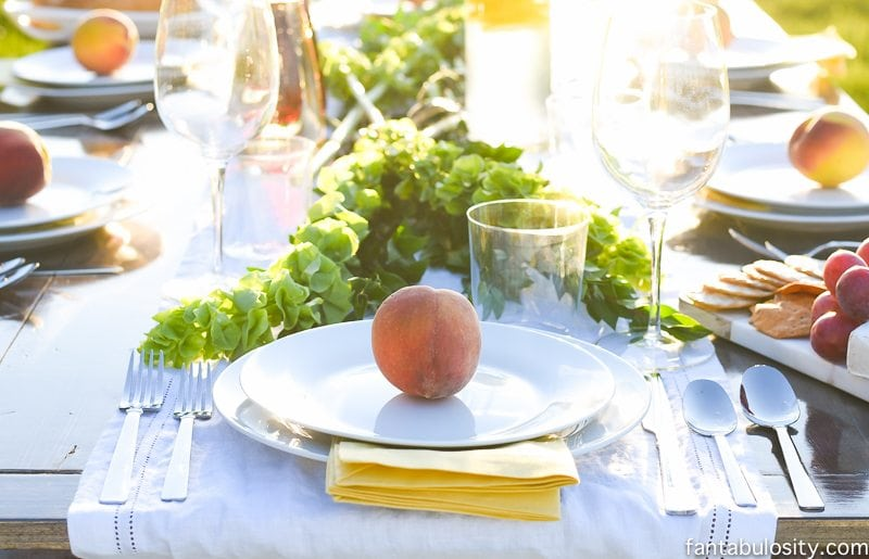 Peach Place Setting! Love this! So simple and classy. Pop Up Backyard Dinner Party: Entertaining Ideas, classy, easy simple, quick, fun, outside. Outdoor Party Ideas