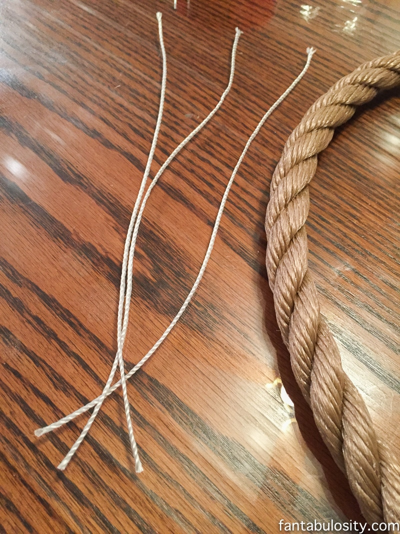 "braid three strings of twisted mason line, to create the ""hook,"" for the patio curtain tie backs https://fantabulosity.com"