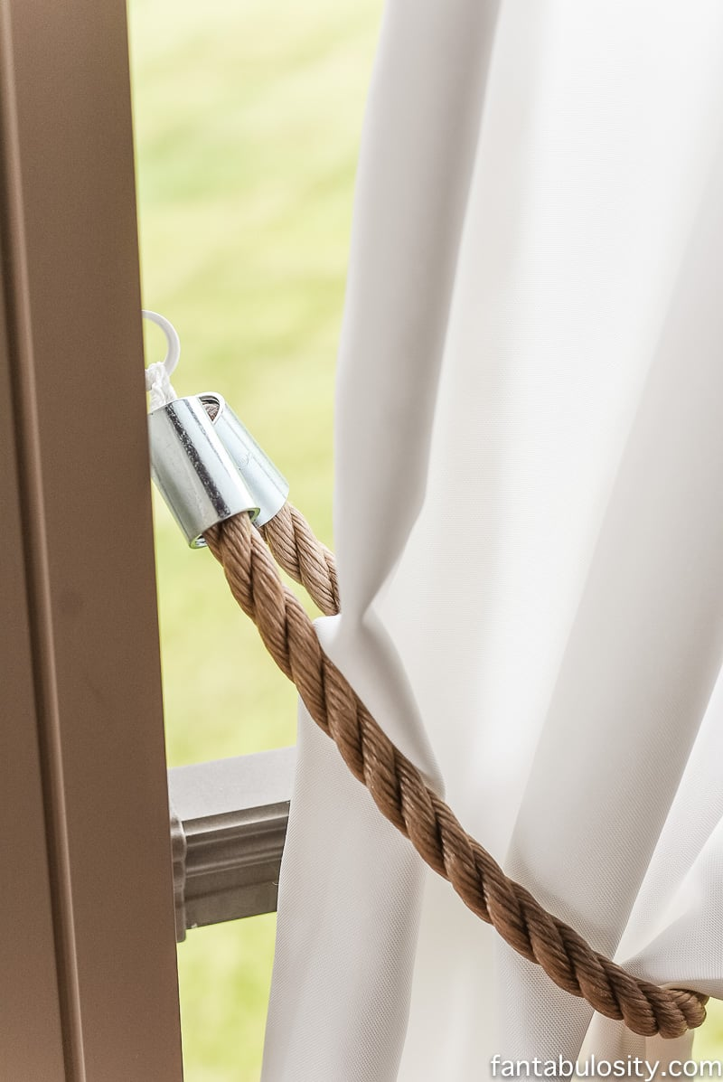 DIY Patio Curtain Tie Backs - Nautical - Rope, & metal couplings