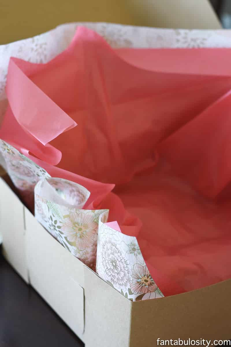 Favorite Things Invitation Ideas - Hand Delivered, Boxed Invites; line with 2 different tissue papers