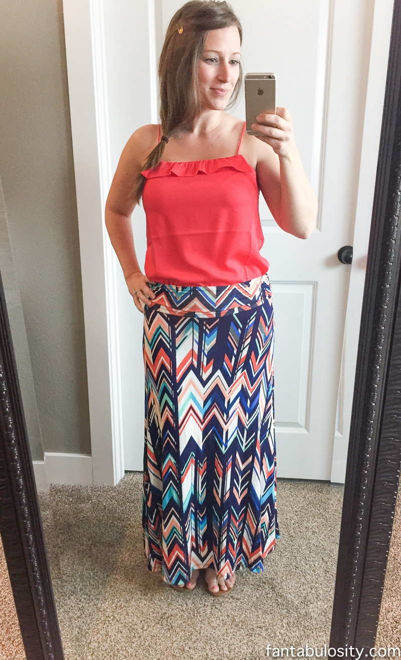 Jordie Abstract Chevron Print Maxi Skirt Stitch Fix Reviews May 2016 2nd Try-On Video