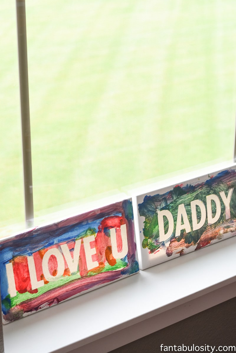I Love You Daddy Fingerpaint Idea for Father's Day Gift Ideas