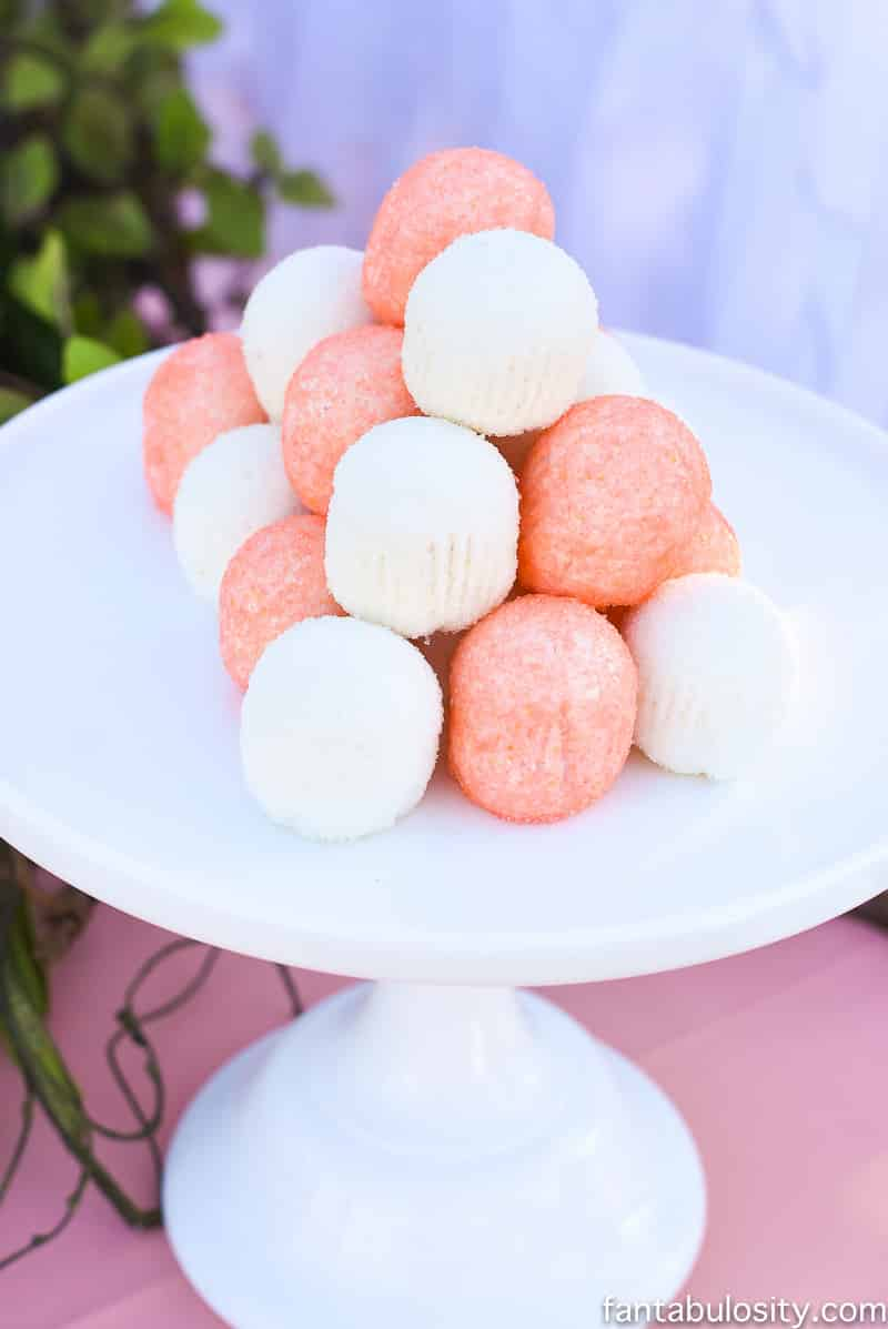 Glitter Bites for pink, coral, peach dessert table idea. Favorite Things Party Summer Edition