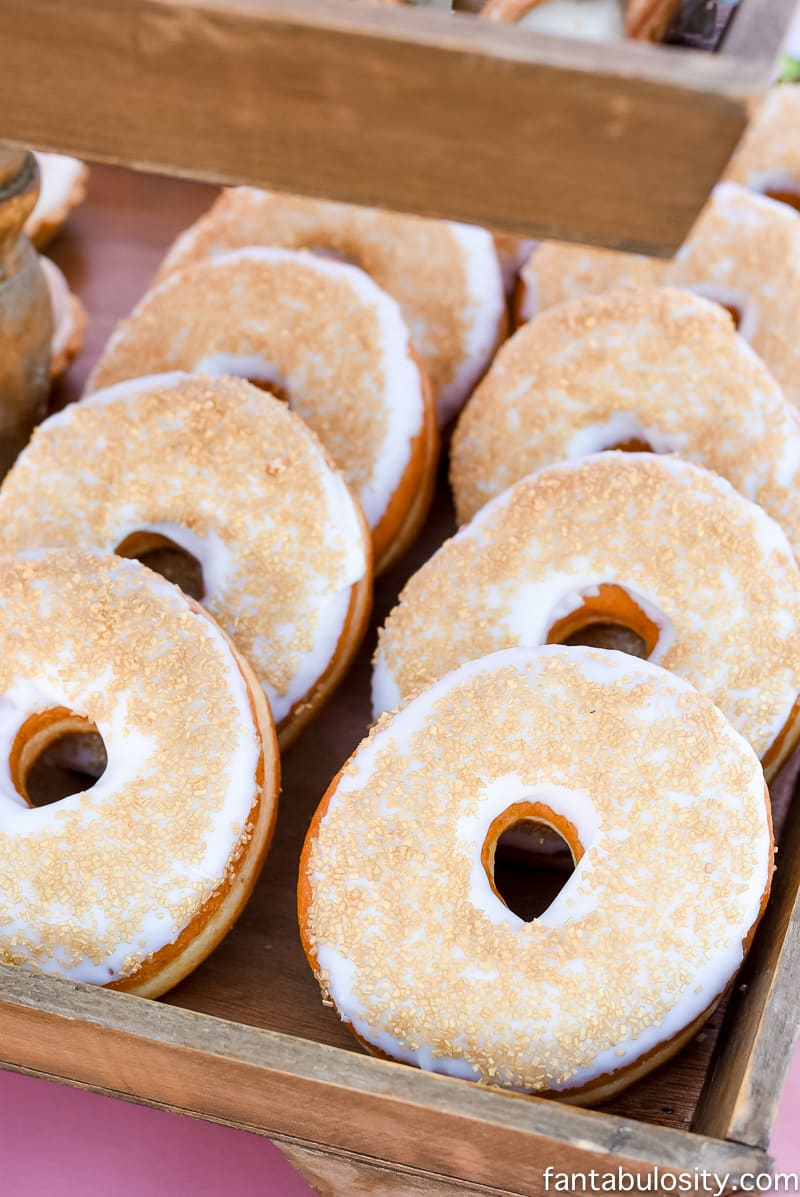 Gold glitter donuts for chic & classy dessert table; Favorite Things Party