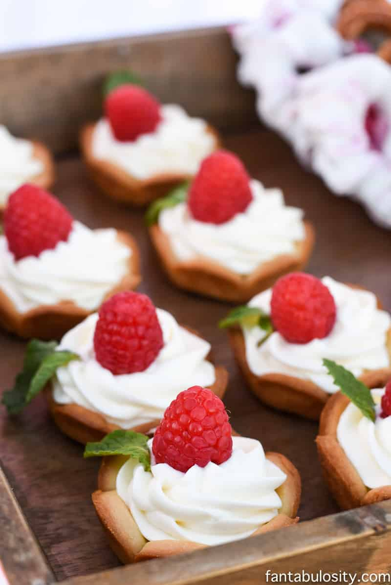Mini white chocolate pies, in cookie cups for the dessert table at the Favorite Things Party