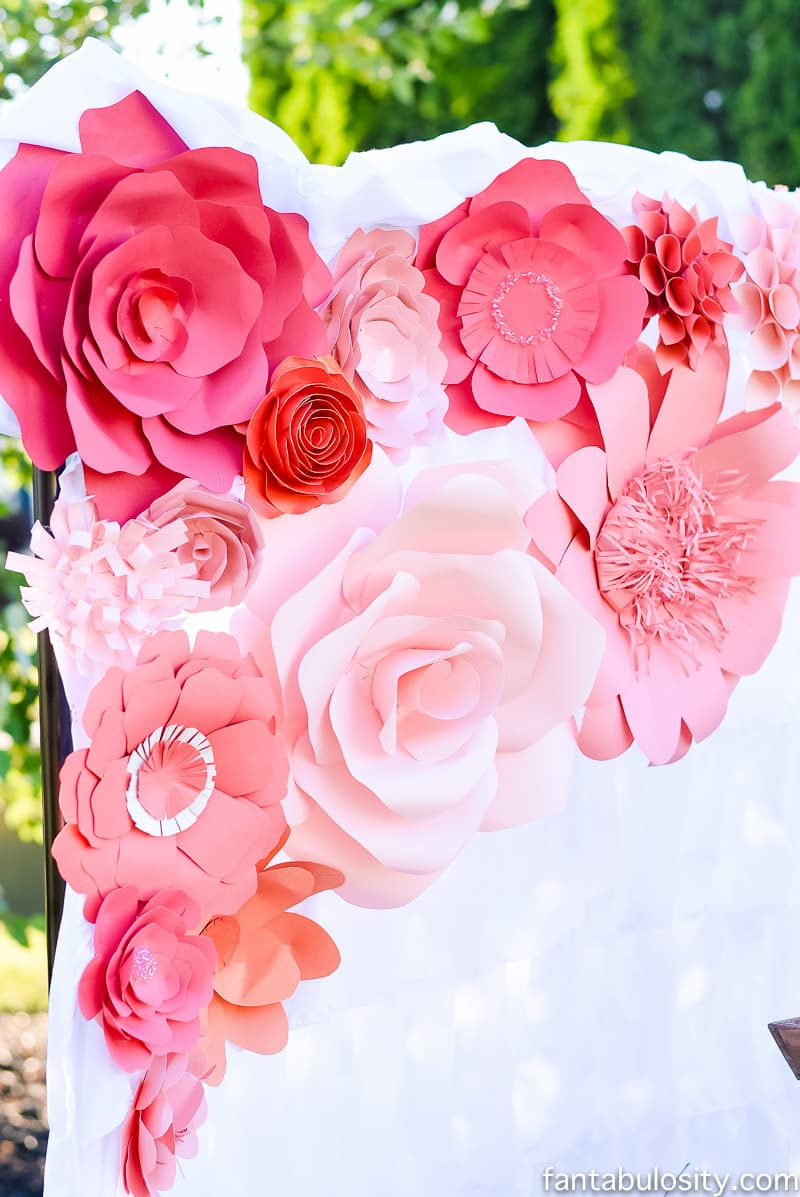 Paper Flowers Backdrop; pink, coral, peach Favorite Things Party Ideas