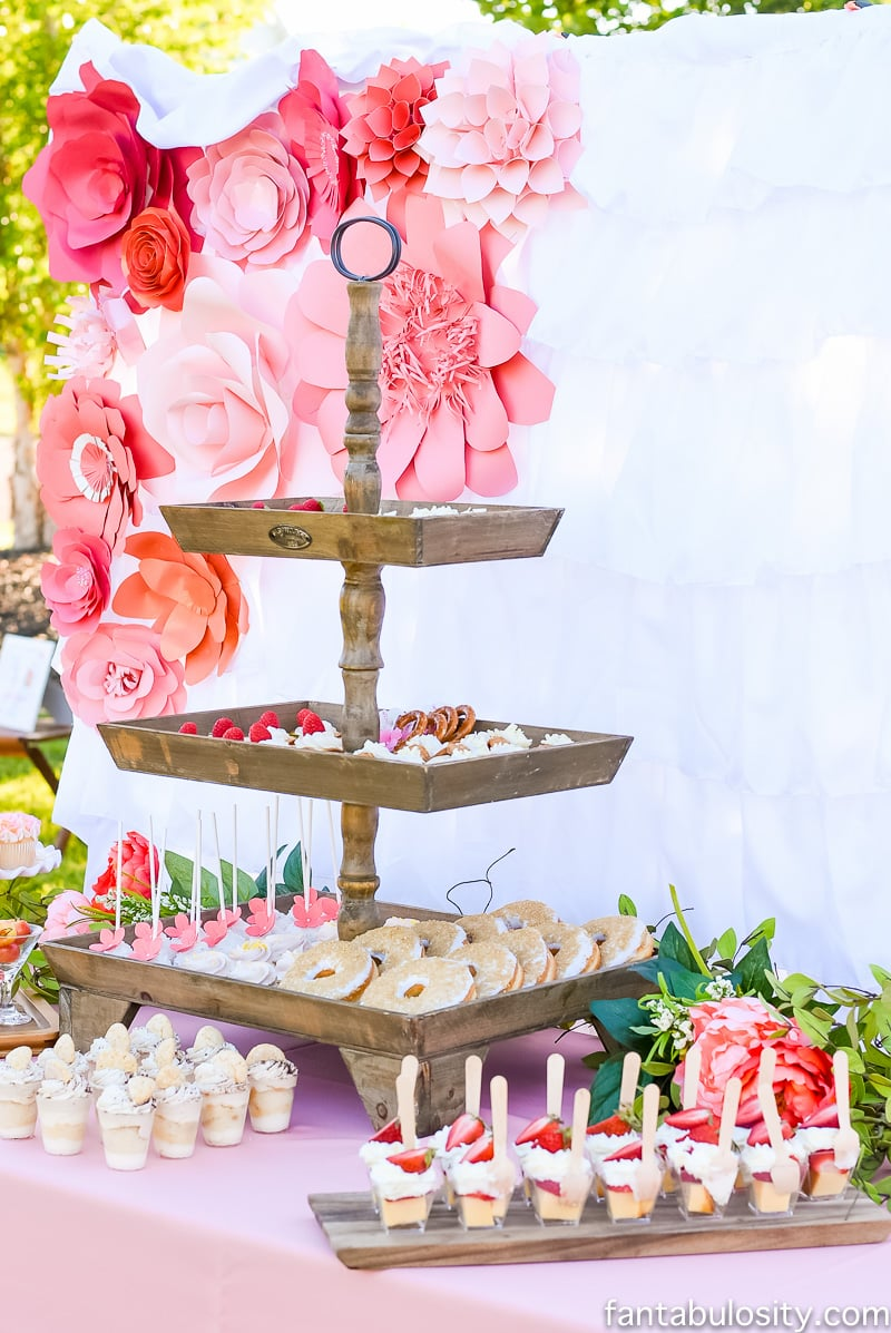 Coral, pink, peach dessert table ideas: Favorite Things Party