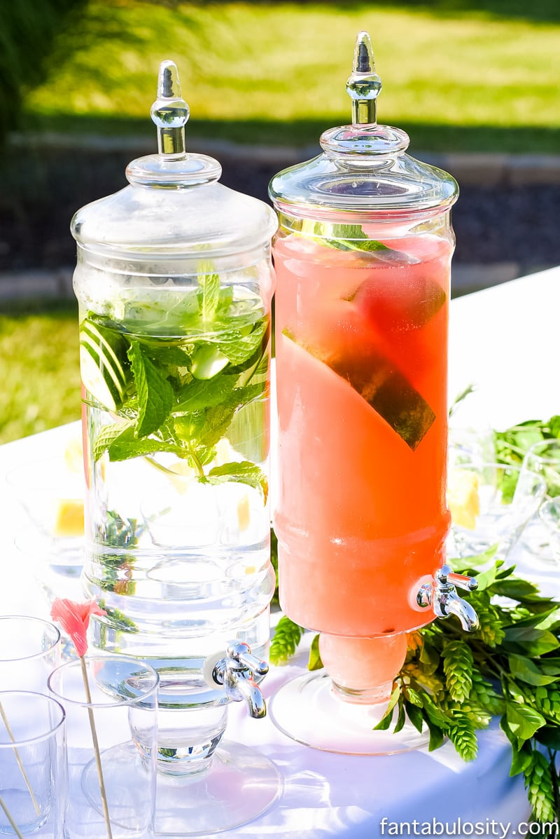 Non Alcoholic Drink Ideas for outdoor party in batches, with garnishes