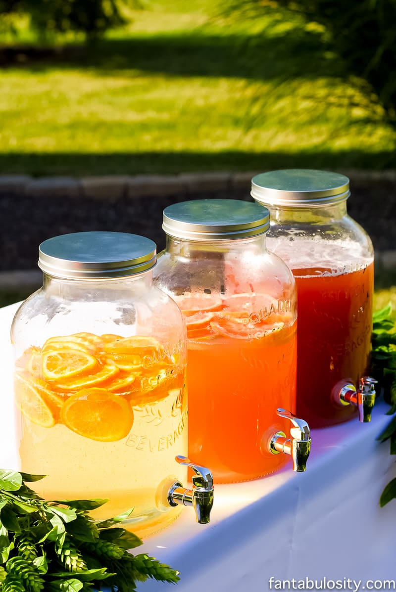 Bar Station for Outdoor Party: Drink Dispensers with white (yellow), coral, and pink drink ideas