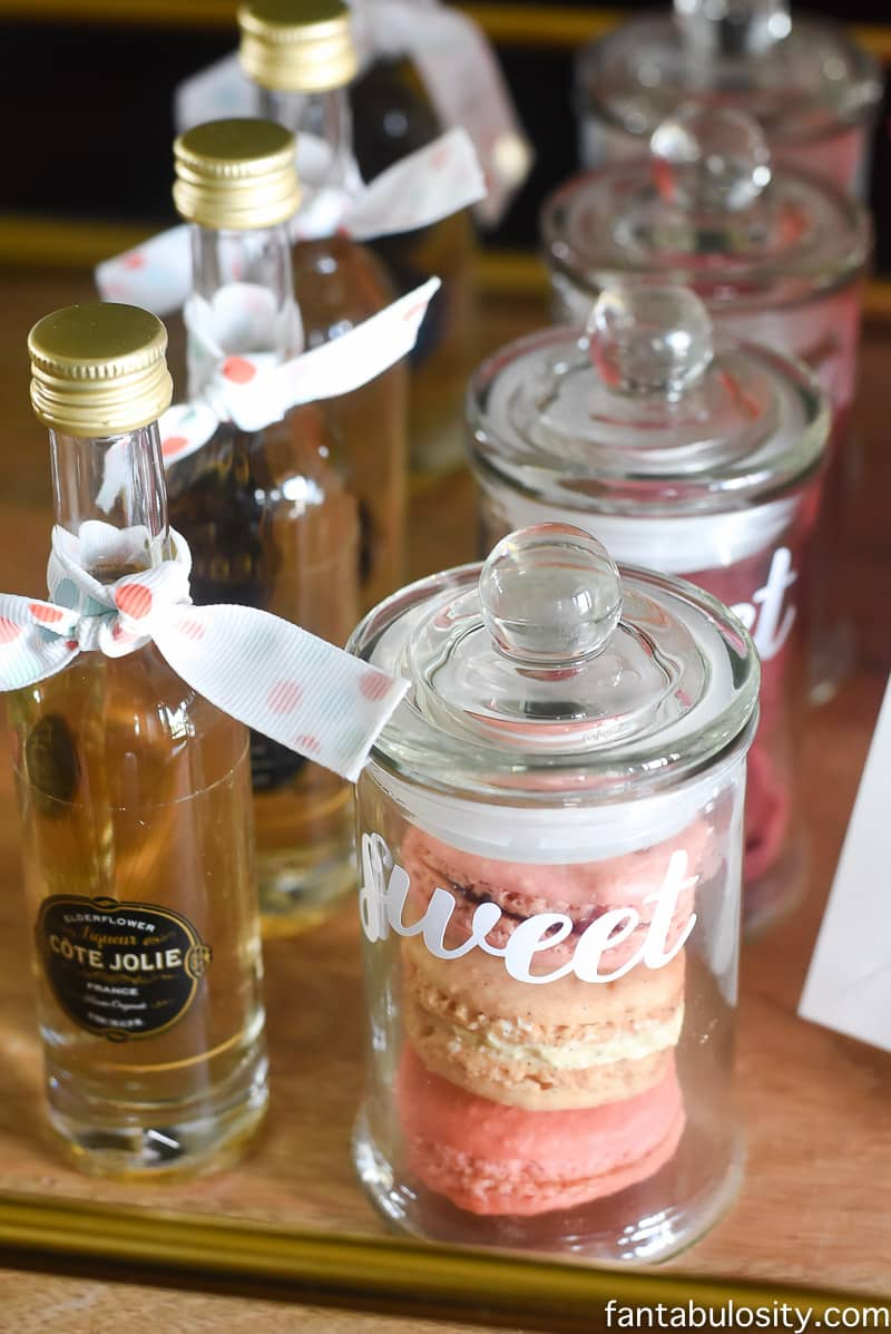 Favorite Things Party Favors Macarons, small bottles of liquor