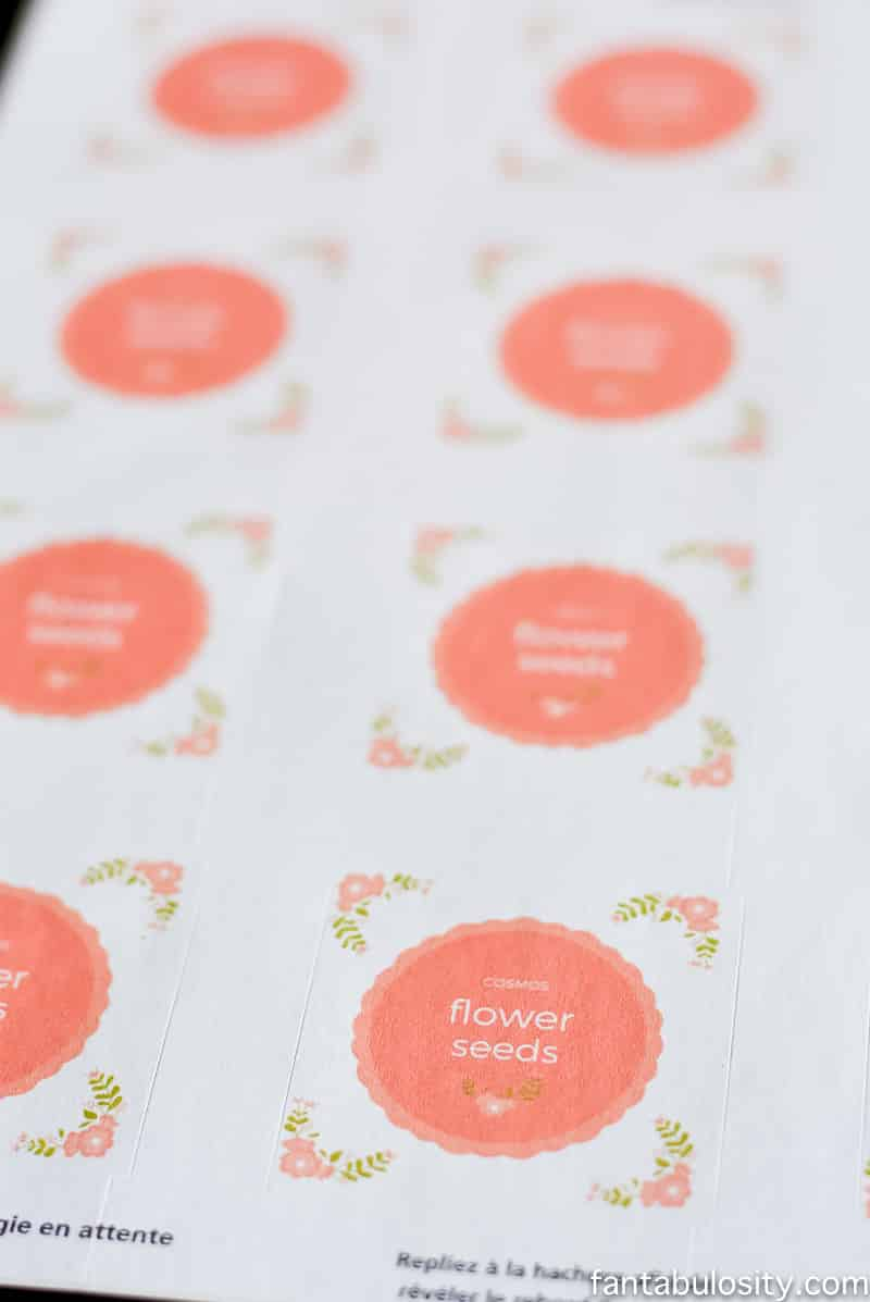 Flower Seed Party Favor Labels