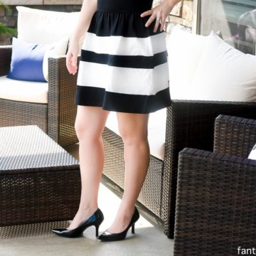 Black and White Dress; knee length, stripes, sleeveless, classic