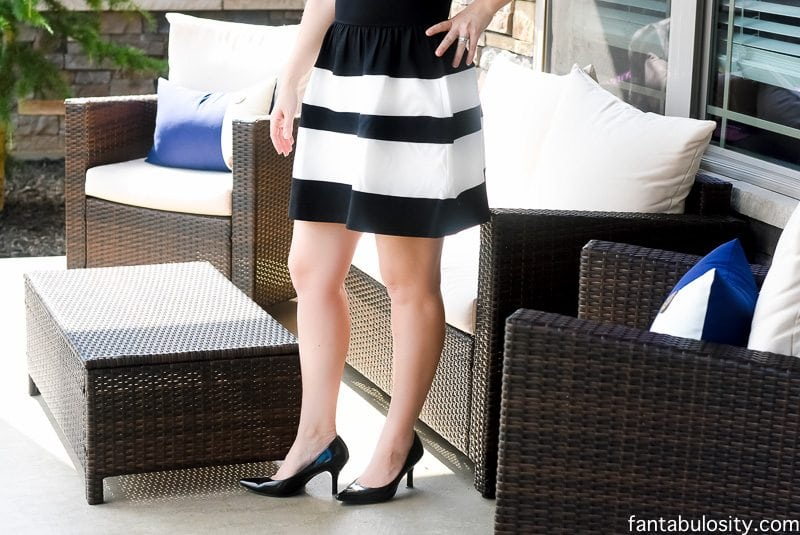 Black and White Dress; knee length, stripes, sleeveless, classic